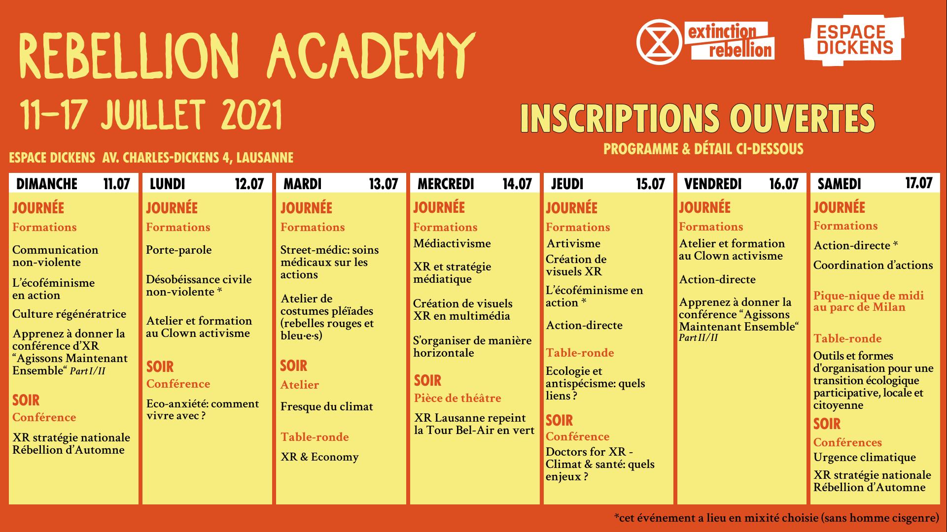 Rebellion Academy / du 11 au 17 juillet 2021